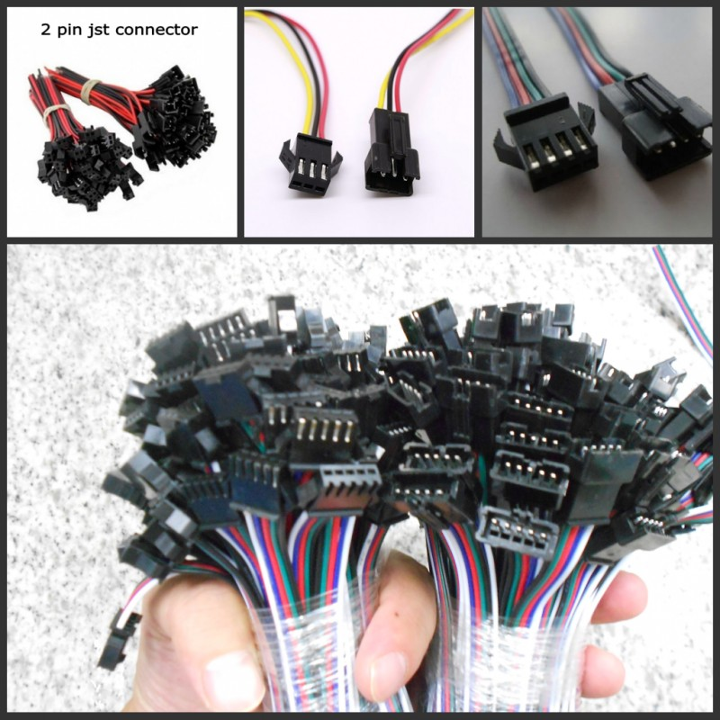 5pairs 2 3 4 5 pin jst Connector 2 x 10cm 2pin Male/female SM Wire cable pigtail for led strip light Lamp Driver CCTV