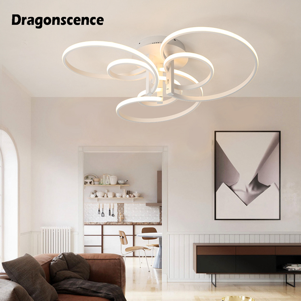 Dragonscence Modern ceiling Chandeliers led Remote Large High power Chandeliers lamp fixture for living room bedroom lighting