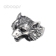 Punk 925 Sterling Silver Wolf Head Ring for Men Boys Adjustable Free Shipping chic wolf head shape ring for men