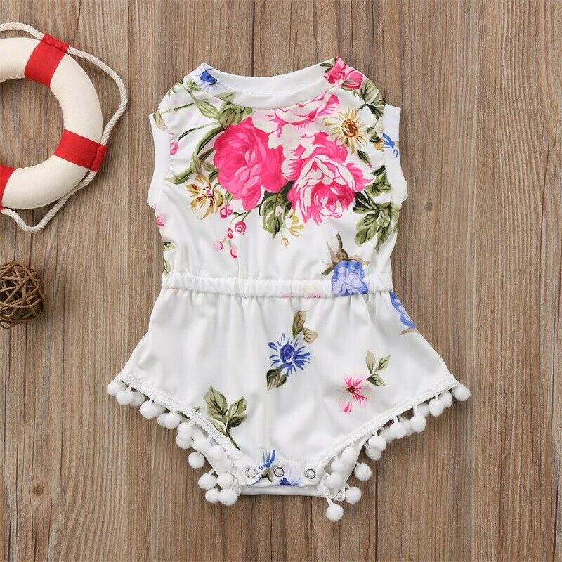 Cute Newborn Infant Baby Kids Girls Lace Lovely Floral Romper Jumpsuit Outfits Set Sunsuit 0 24M in Rompers from Mother Kids