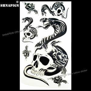 SHNAPIGN salamandra serpiente cráneo de Arte de cuerpo del tatuaje temporal brazo tatuaje Flash pegatinas 17*10cm impermeable henna falso sin dolor