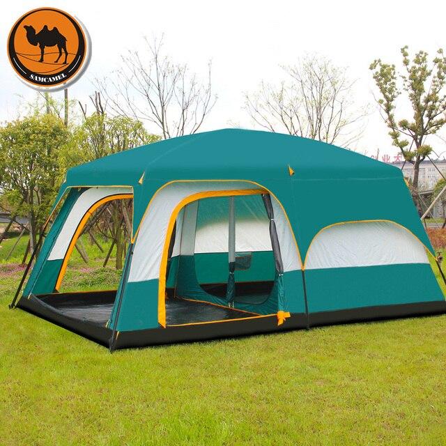גמל Ultralarge 6 10 12 שכבה כפולה חיצוני 2 סלון חדרי 1 אולם משפחת קמפינג אוהל למעלה איכות חלל גדול אוהל