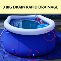 Inflatable Swimming Pool PVC Spacious with Electric Air Pump Huge Space for 6 8 Person 3 Rapid Drainage Outlet Sturdy Rigid Wall