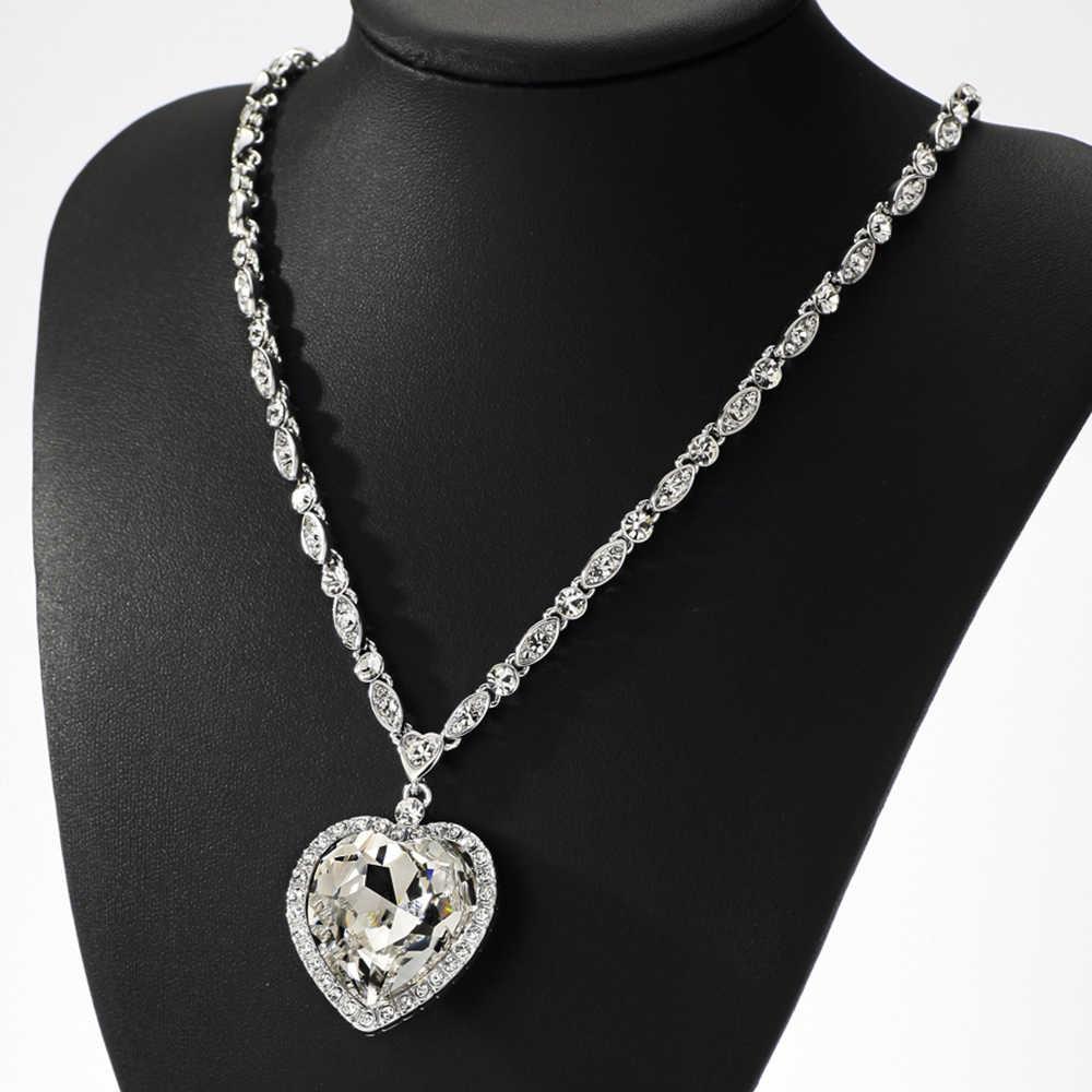 Neoglory mavi kalp okyanus kolye Titanic aşk sevgililer günü hediyeleri Swarovski kristalleri ile süslenmiş