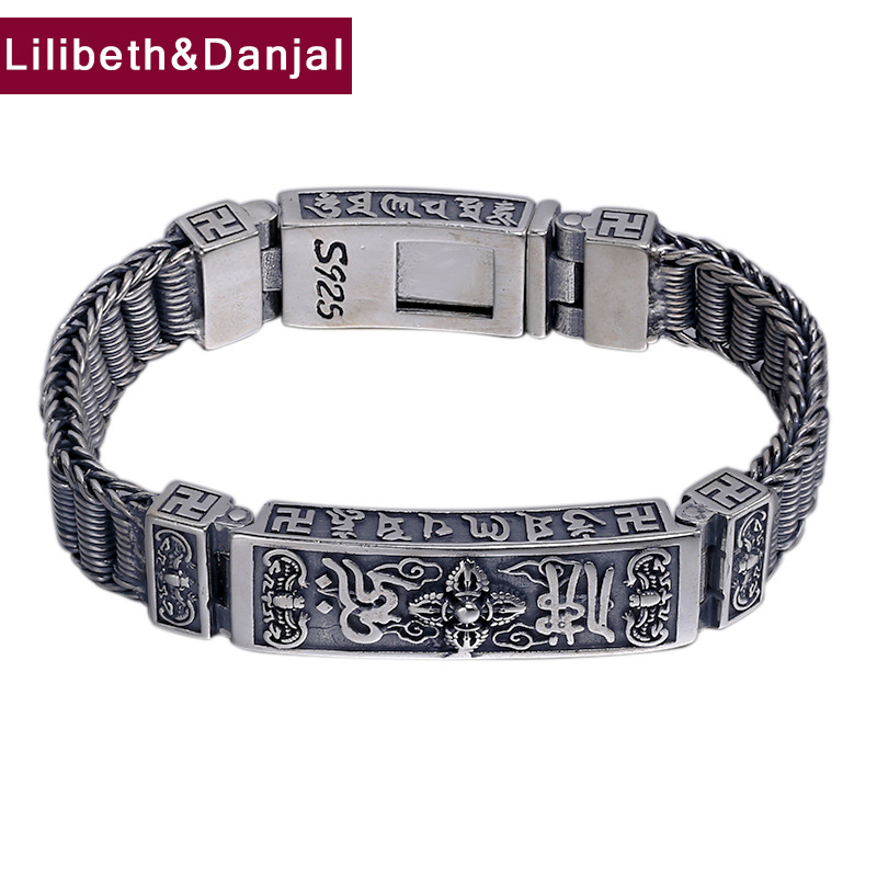 2019 Hippop Street Culture Buddha Mantra Vajra Bracelet Bangle 100% 925 Sterling Silver Jewelry Men Designer Chain Bracelet B692019 Hippop Street Culture Buddha Mantra Vajra Bracelet Bangle 100% 925 Sterling Silver Jewelry Men Designer Chain Bracelet B69