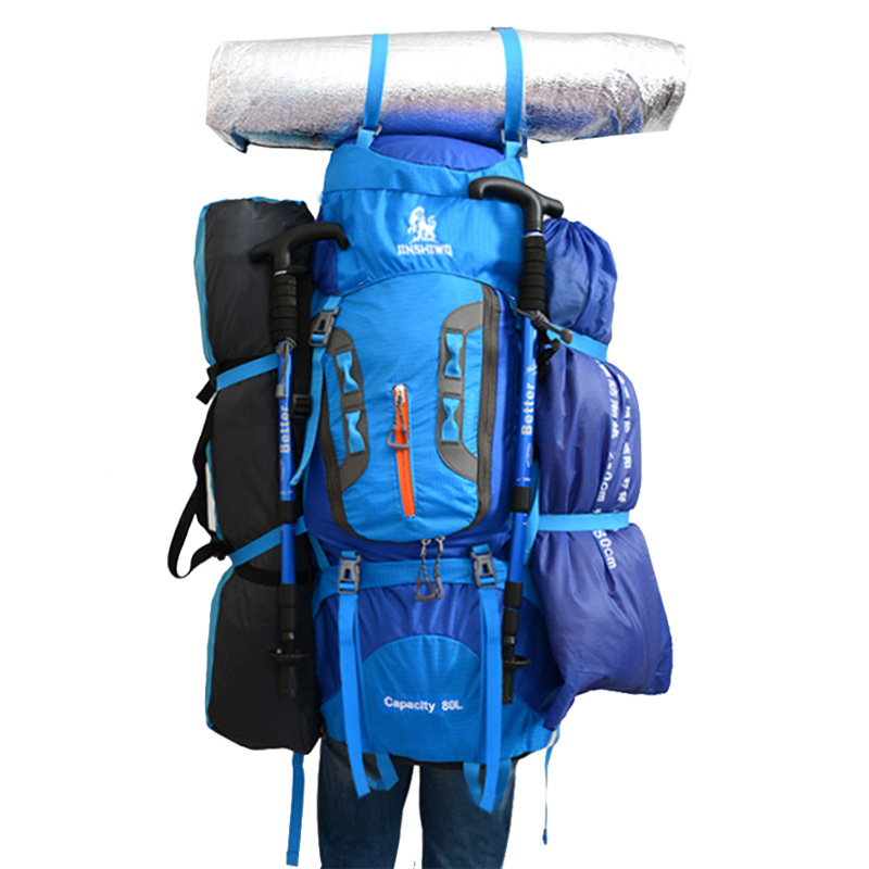 Large Capacity Camping Hiking Trekking Rucksack Backpack Mountaineering Bag Outdoor Backpack Hiking Camping Tent aluminum 80L in Climbing Bags from Sports Entertainment