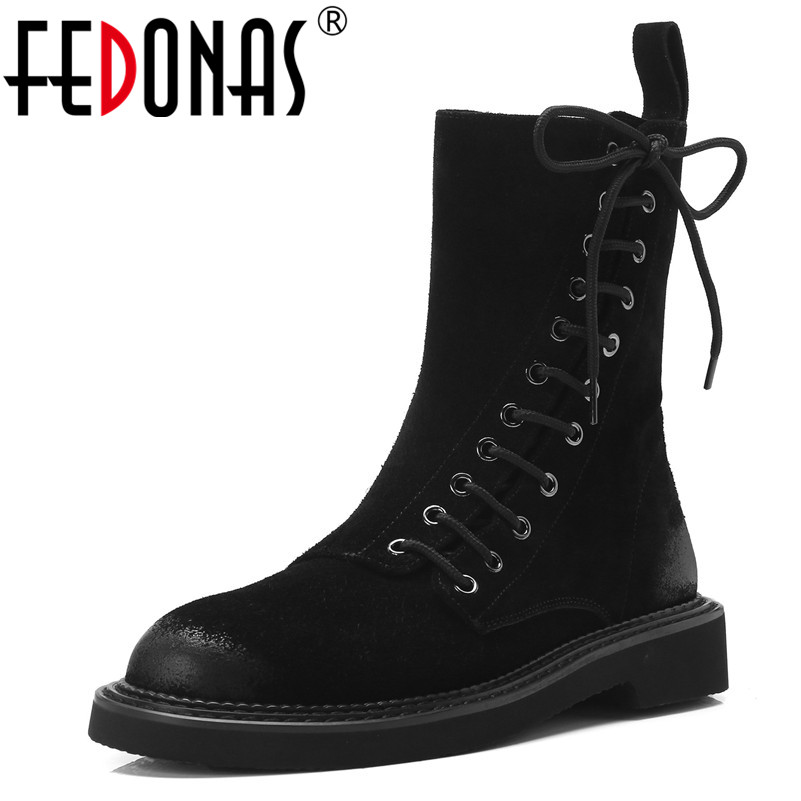 FEDONAS Top Quality Women Ankle Boots Round Toe Low Heels Punk Motorcycle Boots Autumn Winter Ladies Shoes Woman Ladies Boots