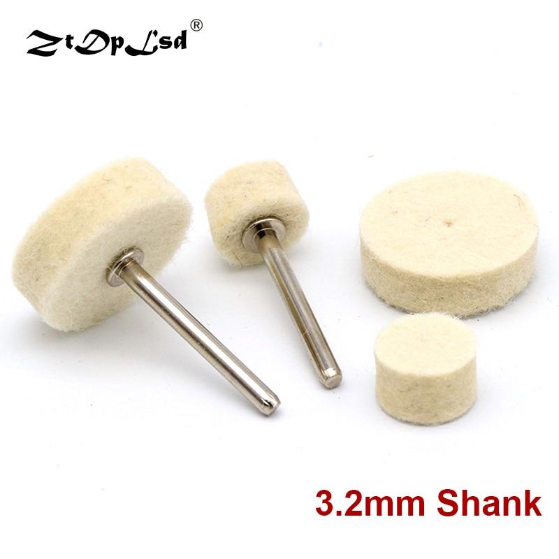 ZtDpLsd 10Pcs Grinding Polishing Buffing Round Wheel Pad Wool Felt 1 Rod 3.2mm Shank