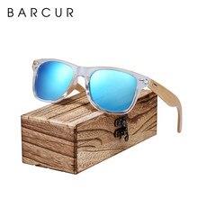 Barcur clássico bambu óculos de sol de madeira transparente quadro plástico polarizado óculos de sol com caixa livre