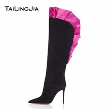2018 Woman Pointed Toe Over The Knee Boots With Red  Lace Fashion Catwalk Shoes Stilettos High Heel Ladies Ruffles Boots Winter цена в Москве и Питере