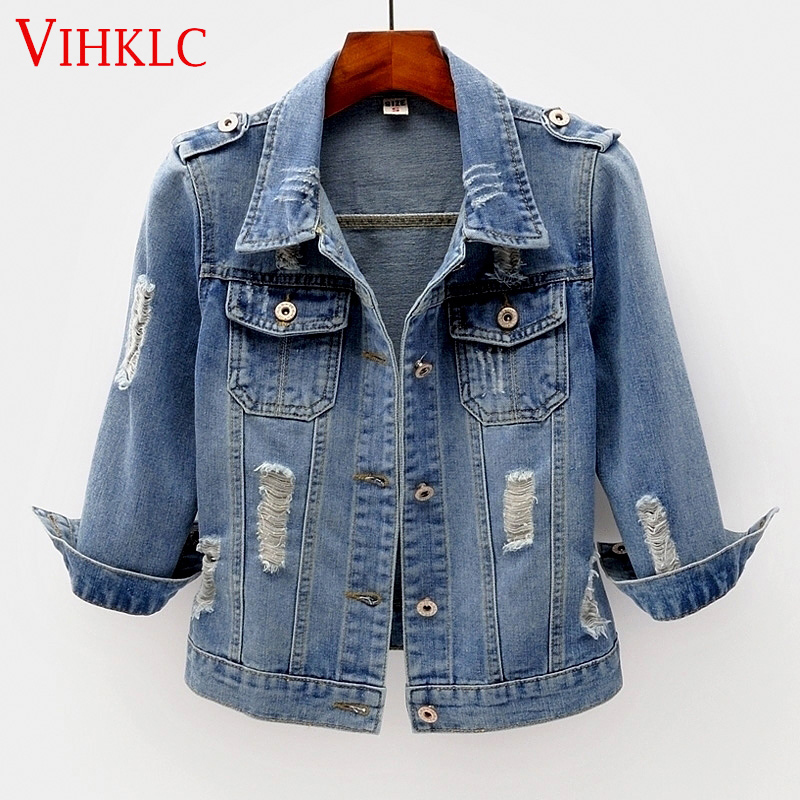 2018 Fashion Jeans Jacket Women Spring Plus Size S 6Xl