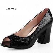 Элегантные удобные женские туфли на высоком каблуке с открытым носком; размера плюс; женская обувь; модные босоножки на высоком каблуке; туфли-лодочки из натуральной кожи