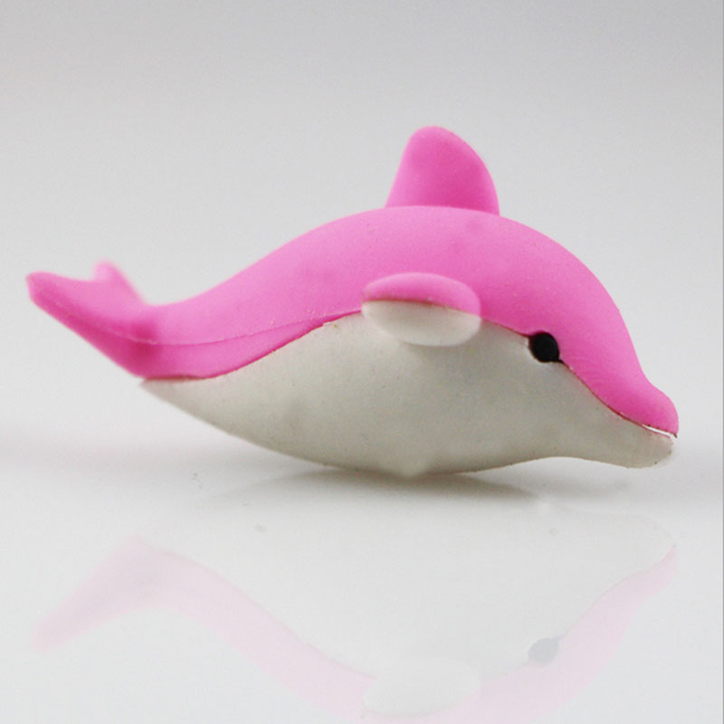 1Pcs Stationery Supplies Kawaii Cartoon Pencil Erasers Cute Dolphin Erasers Office Correction Supplies Kid Learning Gifts
