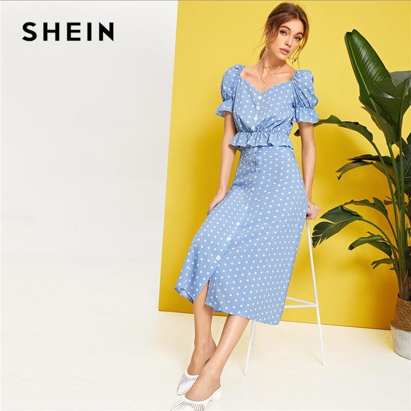 SHEIN Polka Dot Button Front Ruffle Trim Peplum Top And Skirt Set Spring Summer Puff Sleeve Blue Sweetheart Women Two Piece Set