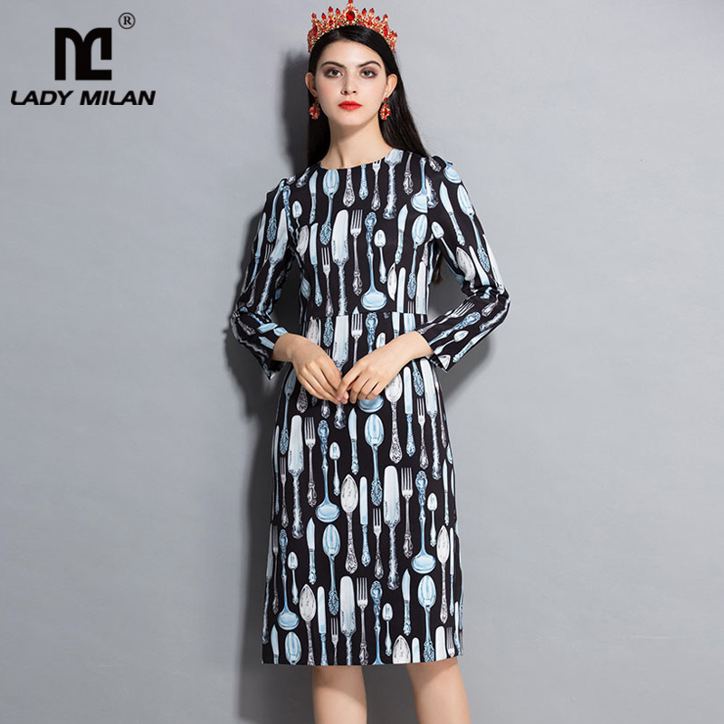 Lady Milan 2018 Womens O Neck Long Sleeves Printed Fashion Straight Causal Dresses