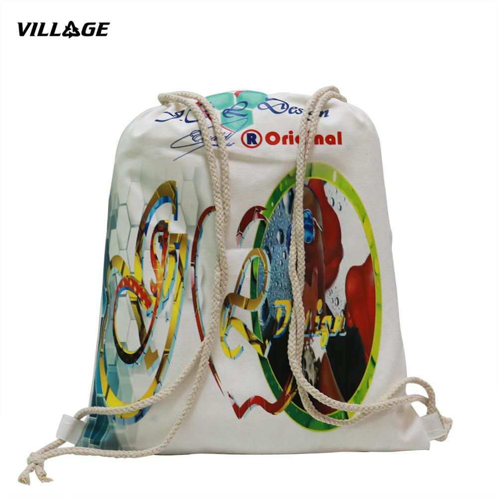 100PCS/lot Custom Canvas Drawstring Backpack Printed Logo