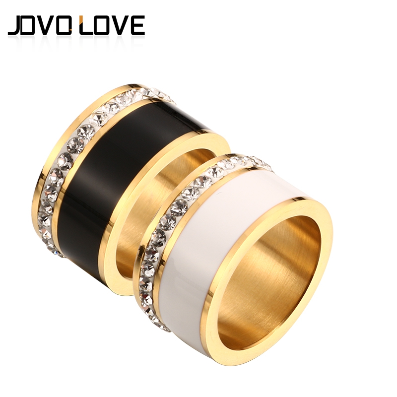 JOVO Luxury Gold Color Rings for Women Wedding Gift Black/White color with charm CZ Paved Design Rose Gold Women Rings Jewelry fashion party jewelry rings for women gold color cz snake dames ringen design christmas gift bague femme open rings ka0167