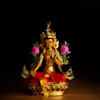 Buddhist Alloy Metal Exquisite Colored Efficacious Tibetan Bodhisattva Green Tara Buddha Gilding Statue Putting Decorations