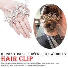 цены на Handmade Golden Crystals Rhinestones Flower Leaf Wedding Hair Clip Barrettes  Headpiece Hair accessories wedding flowers  в интернет-магазинах
