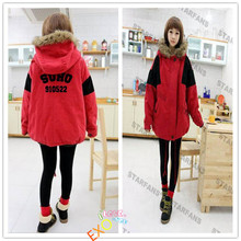 kpop EXO cotton Red models Jacket big yards thick Loose hooded coat Long coat k-pop exo LAY hoodie sweater k pop Fleece clothes