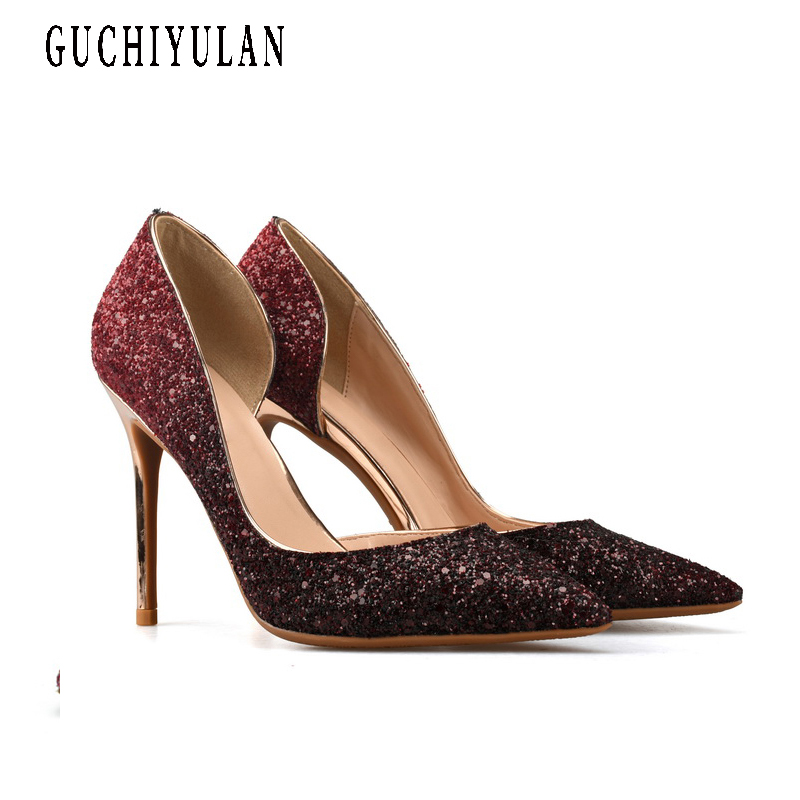 Sexy High Heels Woman Pointed Toe Pumps Gold Crystal Rhinestone Lady Party 8cm/10cm/6cm Heeled Dress Shoes ladies Plus Size aidocrystal plus size 35 43 sexy crystal peep toe wedding shoes rhinestone woman pumps open toe high heels