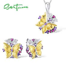 SANTUZZA طقم مجوهرات فضة للمرأة نقية 925 فضة الذهب الأصفر اللون فراشة أقراط طقم قلادات مجوهرات الأزياء