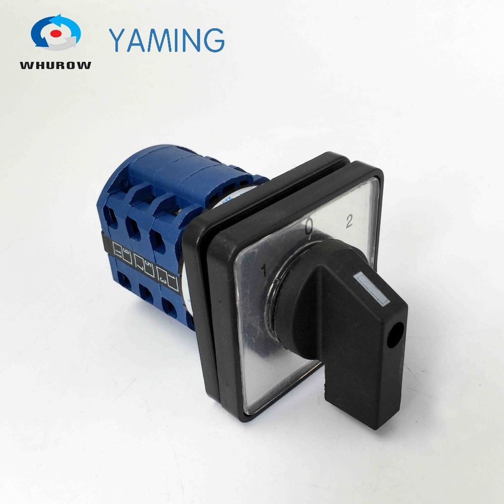 3 position switch LW26-20D5728/3 changeover rotary main cam rotary switch 3 phases 6 terminals control circuit load circuit breaker switch ac ui 660v ith 100a on off 3 poles 3 phases 3no 2 position universal rotary cam changeover switch