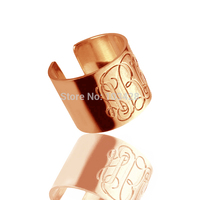 AILIN Mens Monogram Ring Rose Gold Color Engraved 3 Monogrammed Initials Personalized 925 Silver Rings