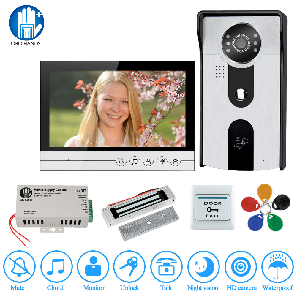 Wired doorphone 7 Video Door Phone Intercom system for home doorbell camera 1 Monitor + 1 RFID Access IR Camera + Electric Lock jeatone 7 lcd monitor wired video intercom doorbell 1 camera 2 monitors video door phone bell kit for home security system