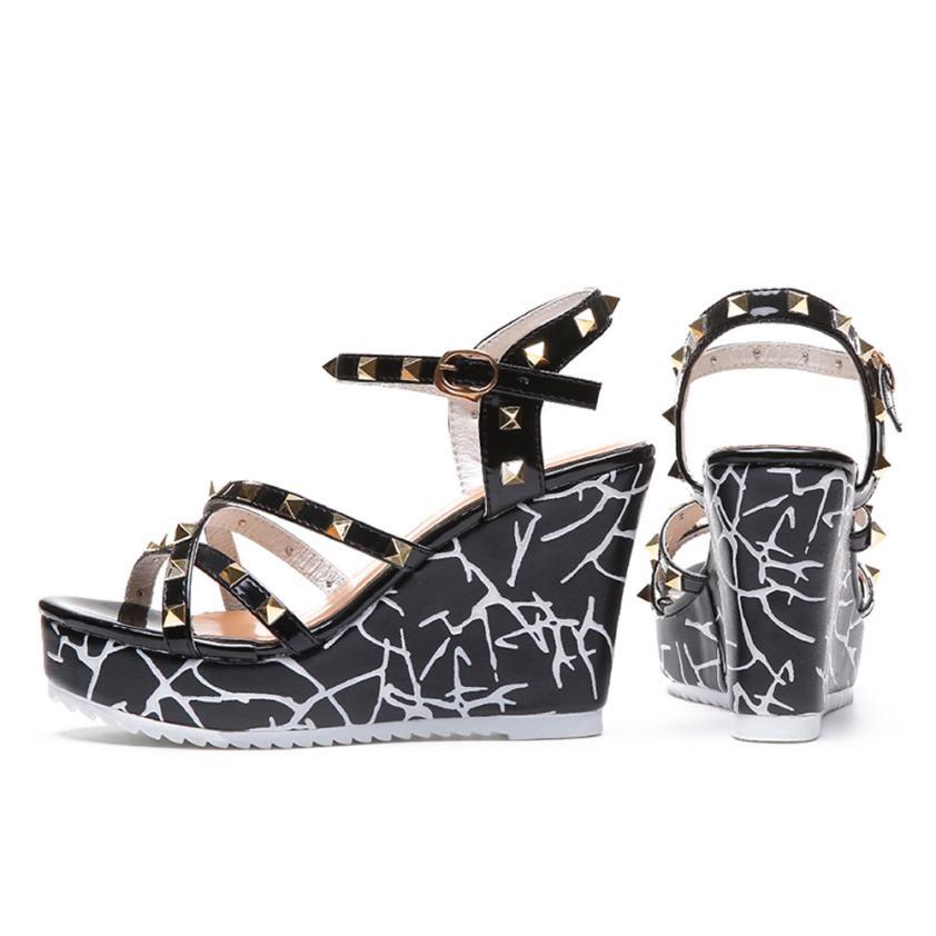 Summer Lady Fashion Wedge High Heels Sandals Elegant Rivets Women Heels Fashion Platform High Heels Wedge Sandals Female Shoes 28