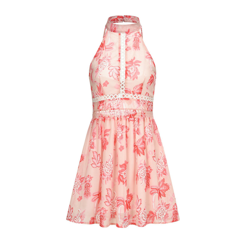 bohemian women dress summer sleeveless halter waist hollow out print mini ladies dresses bow tie open back pink green vestidos in Dresses from Women 39 s Clothing
