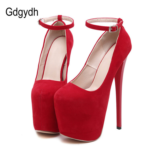 Gdgydh Women's Shoes Sexy Platform Round Toe Cross Straps Ultra Thin Heels High Heels Shoes Women Pumps Red Knot Wedding Shoes