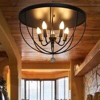Iron Ceiling Light Retro Industrial Wind Corridor Entrance Bedroom Balcony Light 4heads black ceiling lamps za GY228