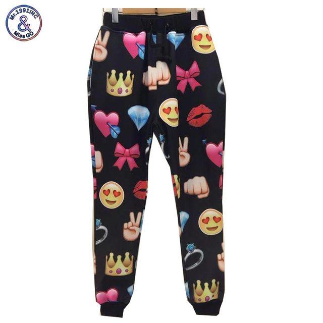 Mr.1991INC Newest ! Men/Women Emoji joggers Print  love Smileys 3d pant long trousers sweatpants Hip Hop pants
