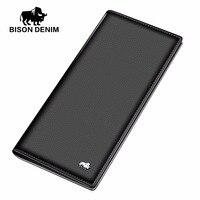 BISON DENIM Long Purse Bag Wallet Business Men S Thin Genuine Leather Wallet Luxury Brand Design