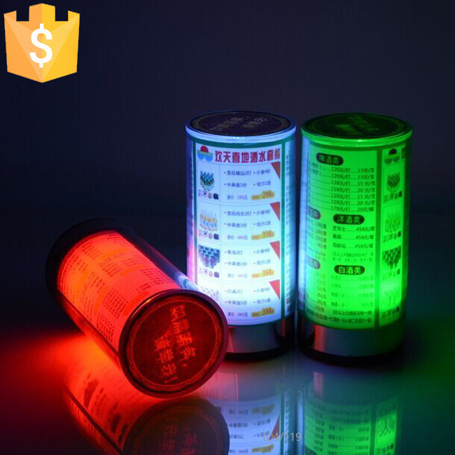 ABS Material Flashing Led Light Table Menu Restaurant Card Display Holder Stand Cylindrical Menu Lamps free shipping 6pcs