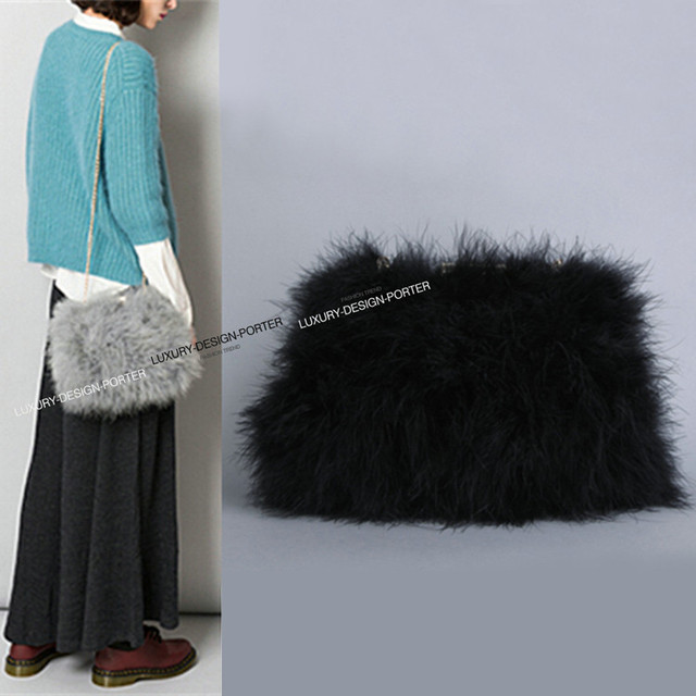 New designer Fluffy feather Women clutch faux fur bag purse with chain  runway bag 07a3cfade3502
