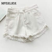 Mferlier Stylish Tassel Patchwork Women Jean Shorts Female All Match Candy Color Summer High Waist Denim