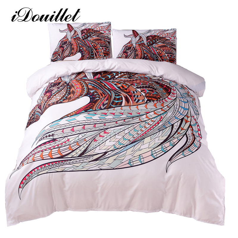 iDouillet Boho Chic Bedding Bohemia Southwest Horse Duvet Cover and Pillow Shams White Twin Full Queen King Double
