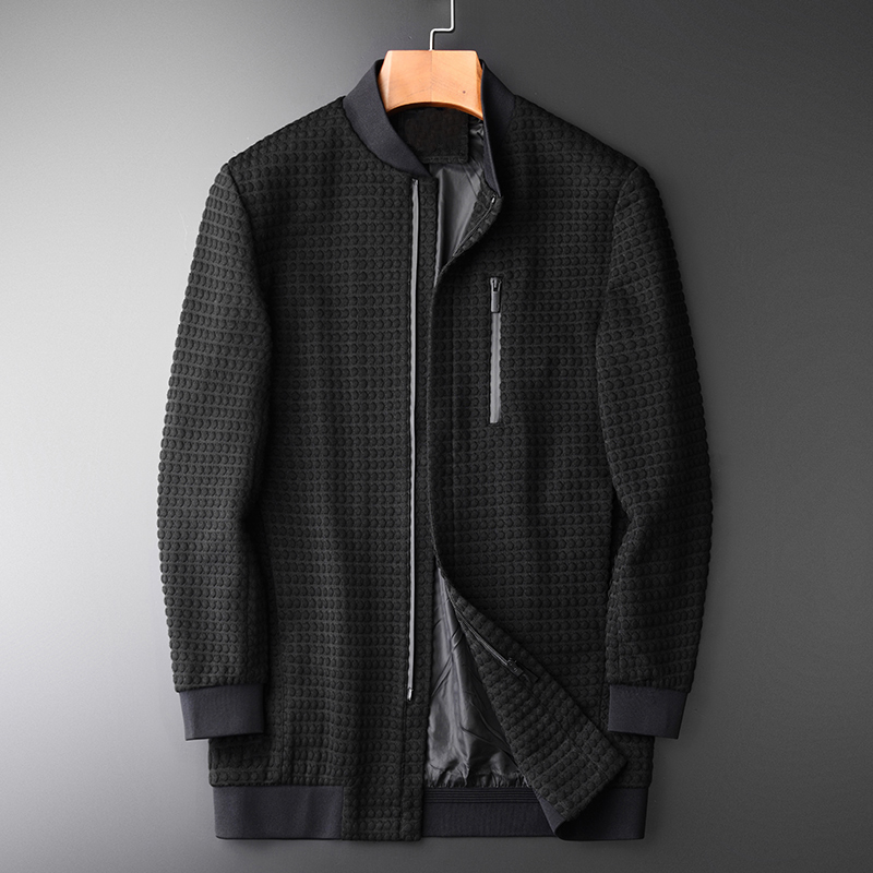 Minglu Medium Long Style Jacket Men Luxury Stand Collar Three-dimensional Plaid  Knitted Fabric Mens Jackets And Coats M-4XL