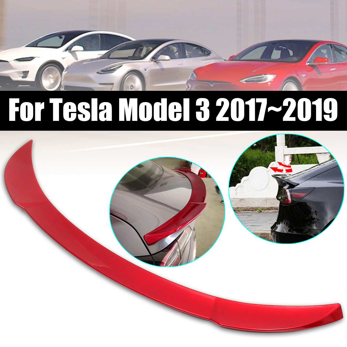 ABS Gloss Red Rear Spoiler Wing for Tesla for Model 3 2017 2018 2019 Exterior Parts Car Rear SpoilerABS Gloss Red Rear Spoiler Wing for Tesla for Model 3 2017 2018 2019 Exterior Parts Car Rear Spoiler
