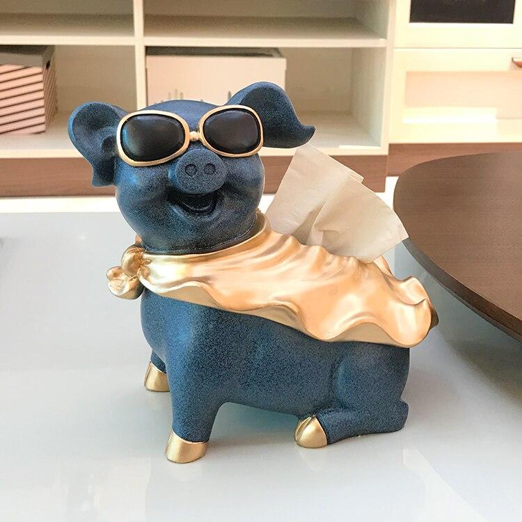 Creative nordique moderne drôle créatif dessin animé cochon décor salon thé Table décoration nouvel an cadeau animaux tirelire boîte à mouchoirs