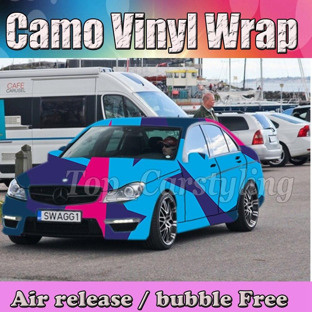 Rose Skye bleu violet Camo autocollant Wrap vinyle camion Camo imprimer Camouflage vinyle feuille d'enveloppe pour ordinateur portable, carbinet, porte