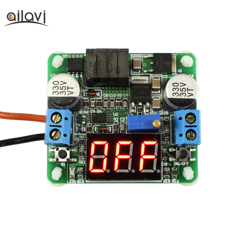 DC-DC Buck and Boost Voltage Converter 5-25V to 0.5-25V 25W Step Up/Down Power Supply Module with Voltmeter