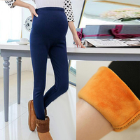 Women Clothing High Waist Leggings Maternity Clothes Winter Leggings Thickened With Velvet Pregnant Women Trousers Warm Pants