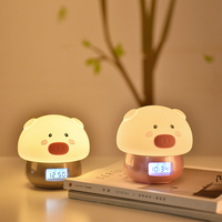 Smart Pig LED Night Light with Alarm Clock Recorder Remote Touch Sensor Colorful USB Silicone Bedroom Bedside Lamp for Children