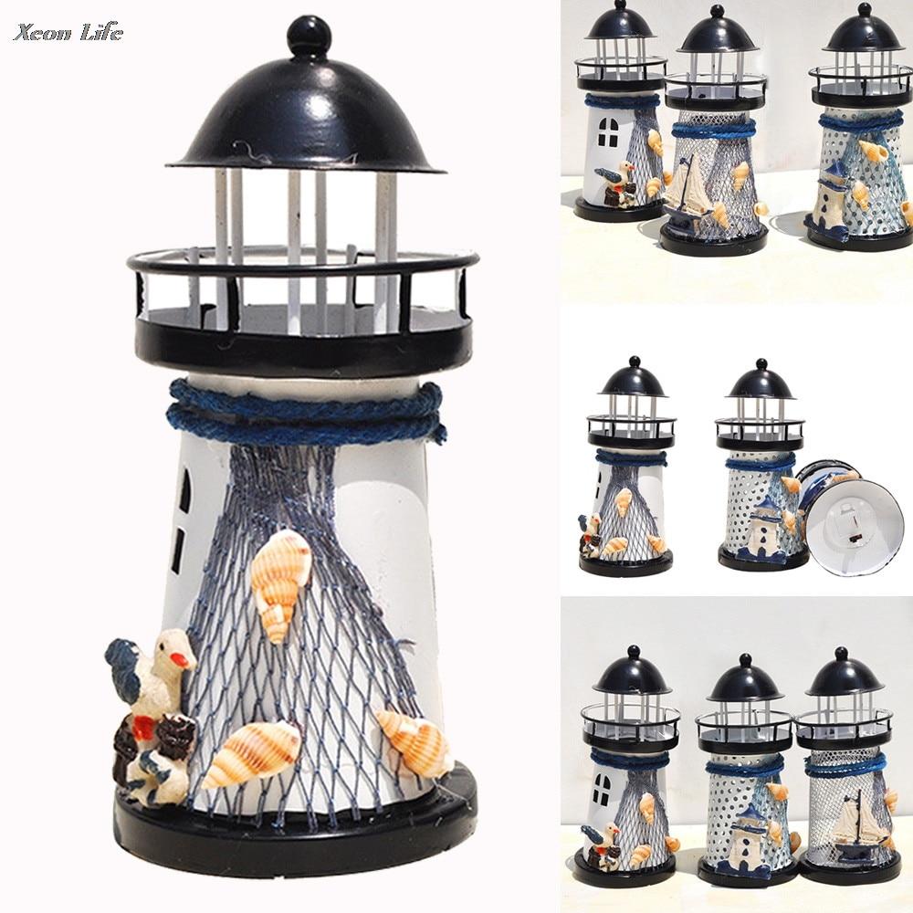 ISHOWTIENDA 14*6.5*6.5CM Lighthouse Iron Candle Holder Nautical ...