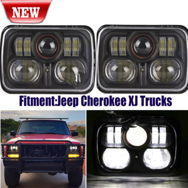 2pc New Chrome Black 5 X 7 Led Headlight Replacement For Jeep