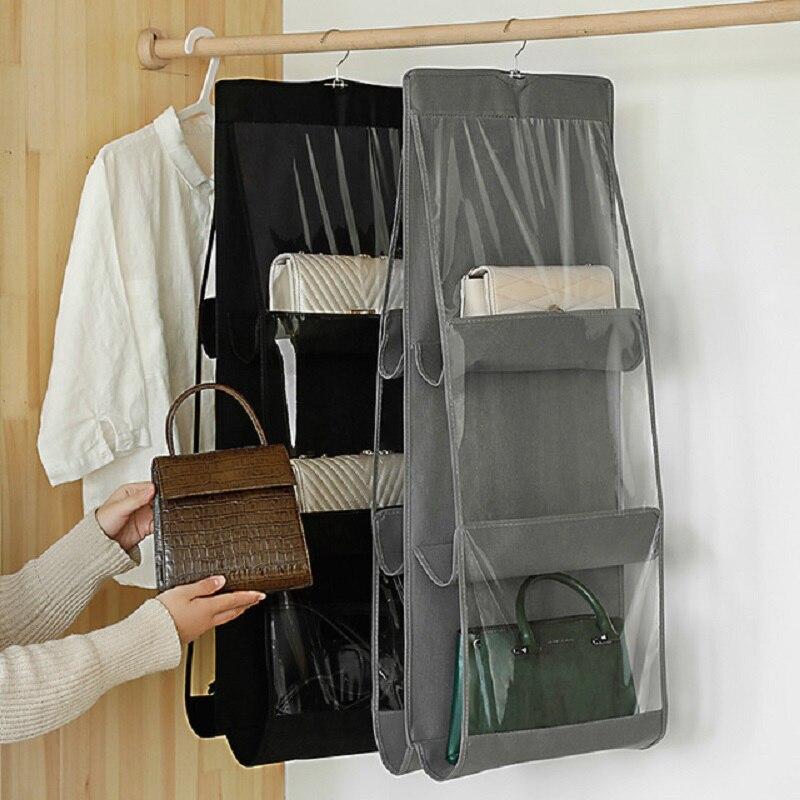 Handbag-Organizer Shelf-Bag Pocket-Hanger Purse Folding 3-Layers Door Sundry