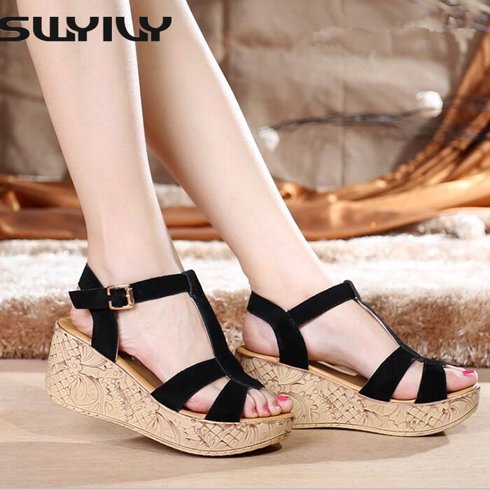 ФОТО Summer style comfortable Bohemian Wedges Women sandals for Lady anckle buckle shoes high platform open toe flip flops
